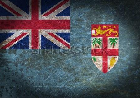 Zászló égő Fidzsi-szigetek háború válság tűz Stock fotó © michaklootwijk