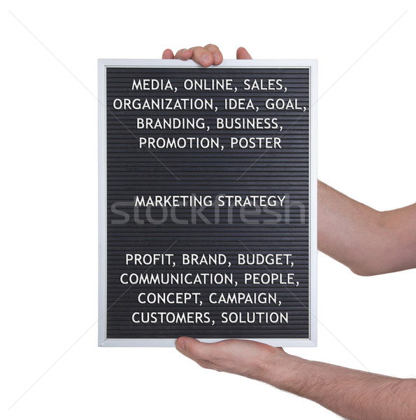 Stock photo: Marketing strategy concept in plastic letters on very old menu b