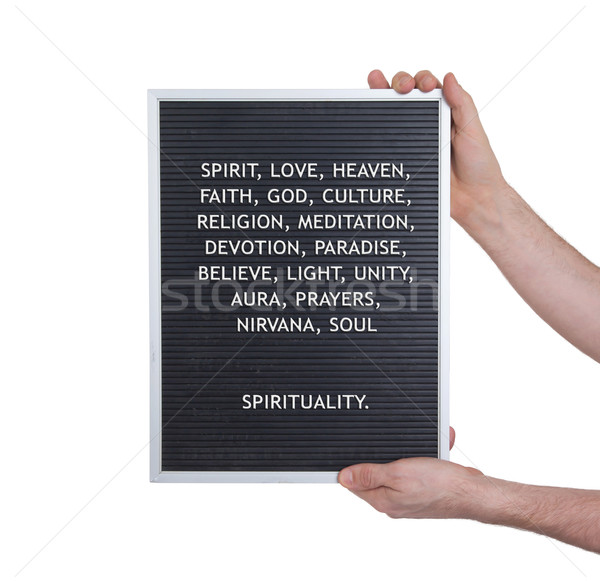 Spirituality concept in plastic letters on very old menu board Stock photo © michaklootwijk