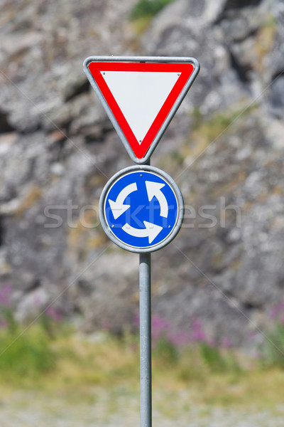 Roundabout crossroad road traffic sign, blue Stock photo © michaklootwijk