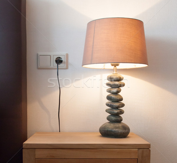 Modern table lamp on a bedside table Stock photo © michaklootwijk