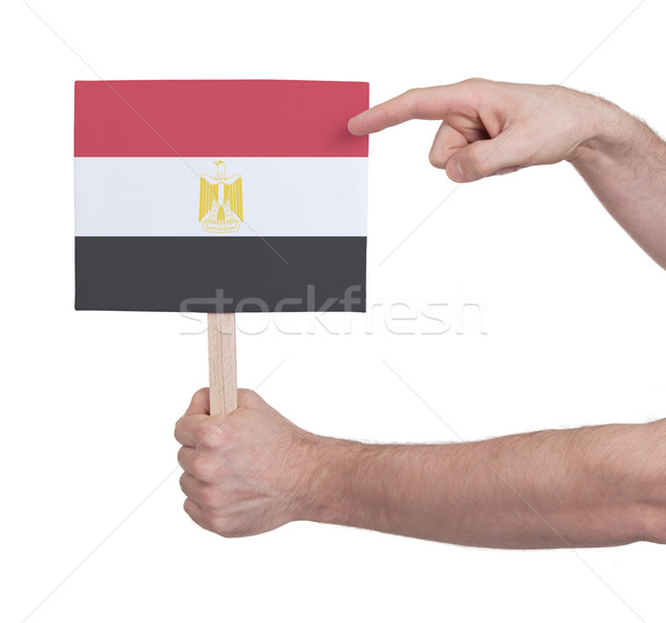 Hand holding small card - Flag of Egypt Stock photo © michaklootwijk