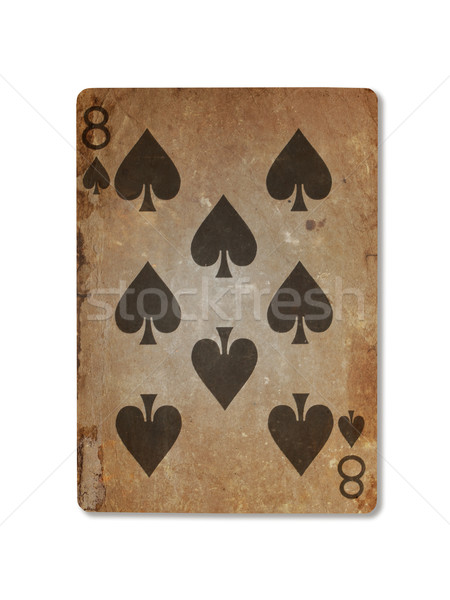 Very old playing card, eight of spades Stock photo © michaklootwijk
