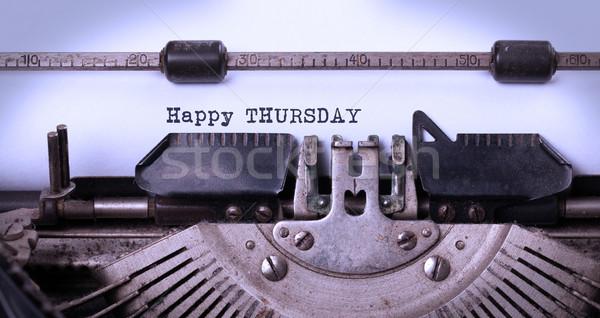 Vintage typewriter close-up - Happy Thursday Stock photo © michaklootwijk