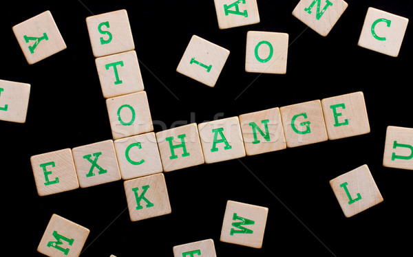 Letters on wooden blocks (stock, exchange) Stock photo © michaklootwijk