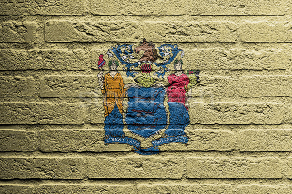 Brick wall with a painting of a flag, New Jersey Stock photo © michaklootwijk