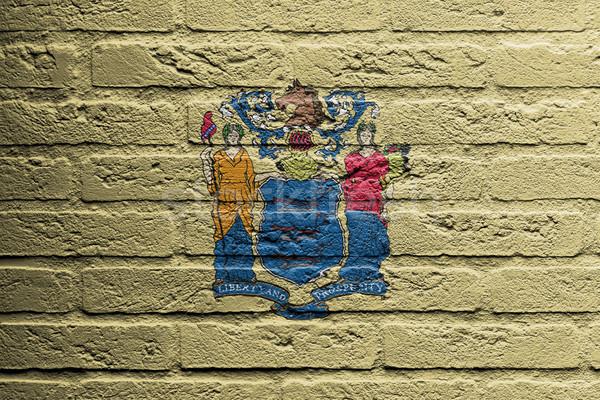 Muur schilderij vlag New Jersey geïsoleerd textuur Stockfoto © michaklootwijk