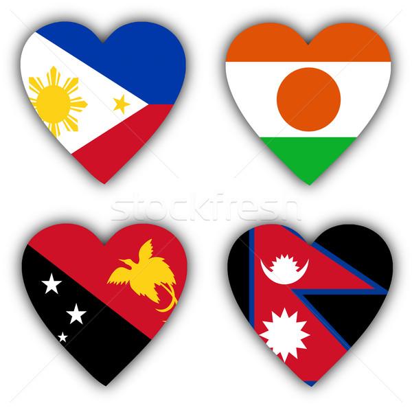Stok fotoğraf: Bayraklar · biçim · kalp · farklı · ülke