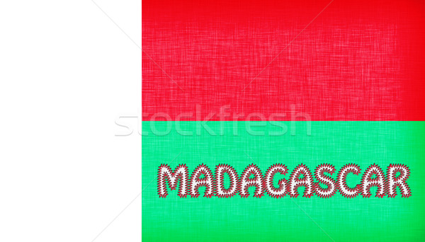 Flag of Madagascar stitched with letters Stock photo © michaklootwijk
