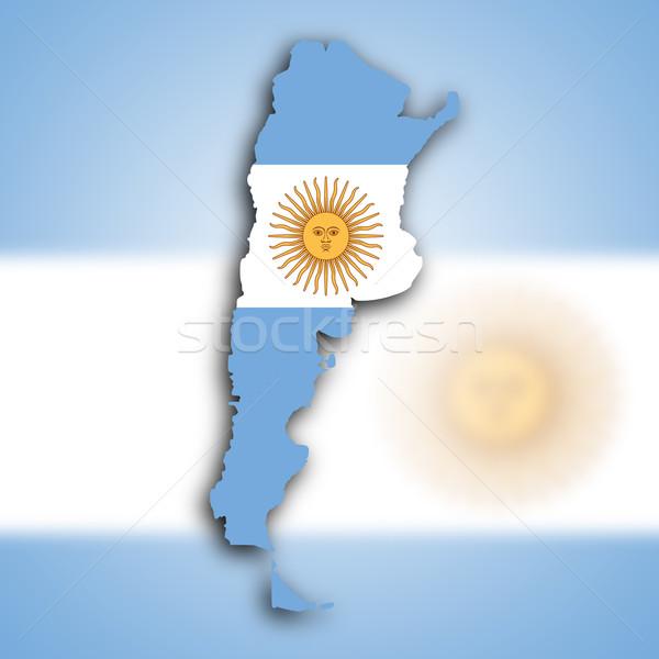 Térkép Argentína nap sziluett fehér föld Stock fotó © michaklootwijk