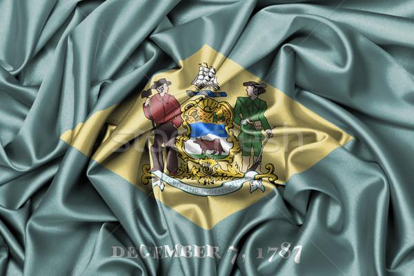 Stockfoto: Satijn · vlag · geven · Delaware · textuur