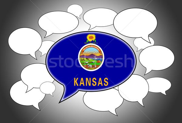 Comunicação nuvem discurso voz Kansas espaço bandeira Foto stock © michaklootwijk