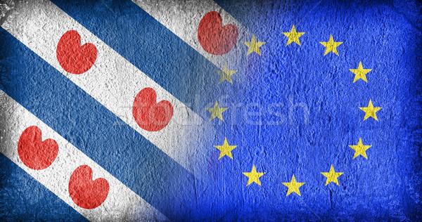 Ue banderas pintado agrietado concretas azul Foto stock © michaklootwijk