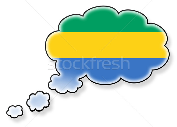 Bayrak bulut yalıtılmış beyaz Gabon sanat Stok fotoğraf © michaklootwijk