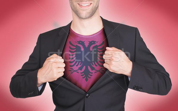 Stockfoto: Zakenman · opening · pak · shirt · vlag · Albanië