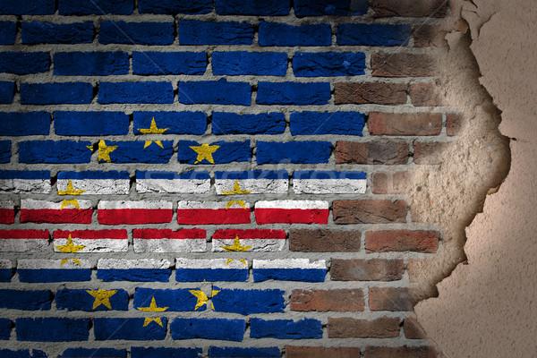 Ciemne murem gipsu tekstury banderą malowany Zdjęcia stock © michaklootwijk