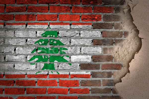 Karanlık tuğla duvar sıva Lübnan doku bayrak Stok fotoğraf © michaklootwijk