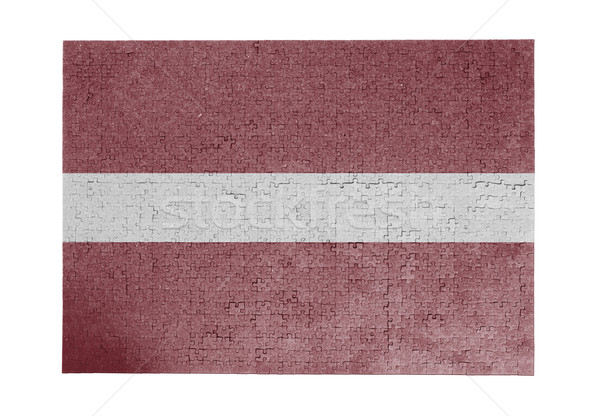 Nagy kirakós játék 1000 darabok Lettország zászló Stock fotó © michaklootwijk