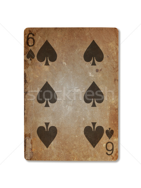 Very old playing card, six of spades Stock photo © michaklootwijk