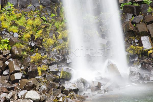 Schwarz fallen dramatischen Wasserfall dunkel Basalt Stock foto © michaklootwijk