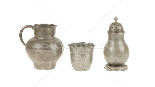 Very old tin kitchen set full of scratches, isolated Stock photo © michaklootwijk