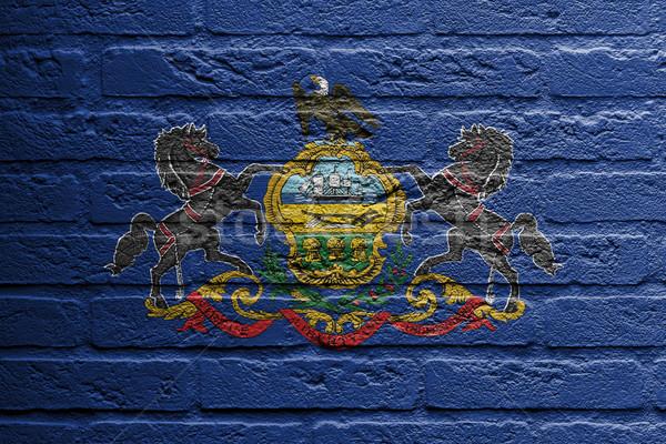 Téglafal festmény zászló Pennsylvania izolált festék Stock fotó © michaklootwijk