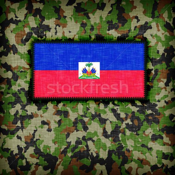 Tarnung einheitliche Haiti Flagge Textur abstrakten Stock foto © michaklootwijk