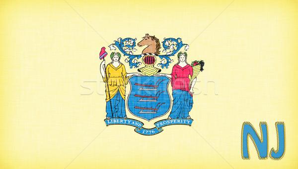 Vászon zászló New Jersey rövidítés textúra szövet Stock fotó © michaklootwijk