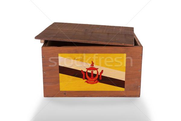 Fából készült láda izolált fehér termék Brunei Stock fotó © michaklootwijk