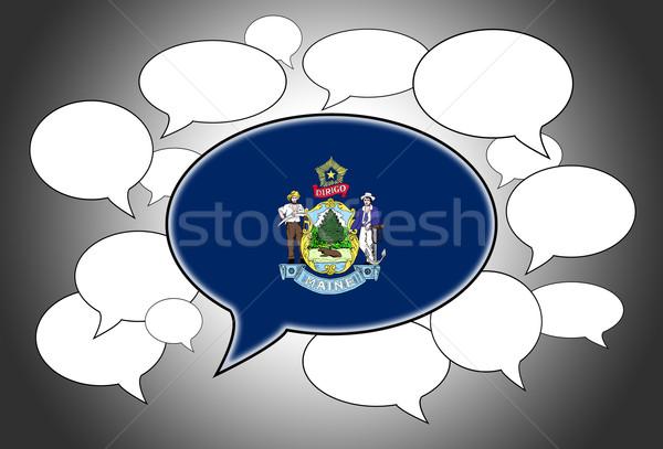 Communicatie speech cloud stem Maine ruimte vlag Stockfoto © michaklootwijk