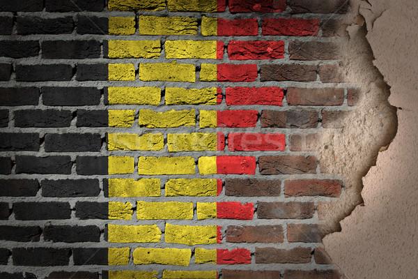 暗い レンガの壁 石膏 ベルギー テクスチャ フラグ ストックフォト © michaklootwijk