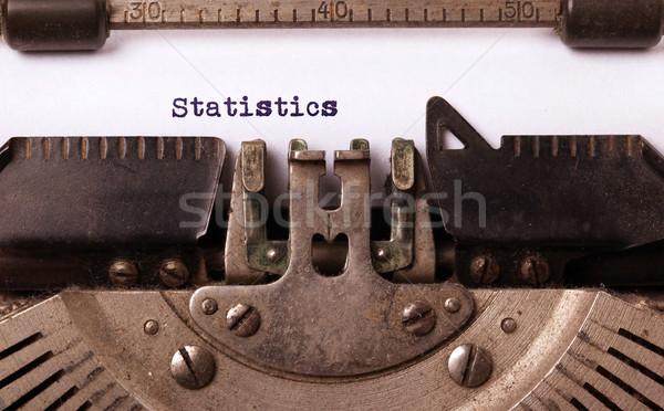 Foto stock: Vintage · velho · máquina · de · escrever · estatística · carta