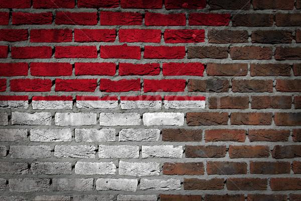 Murem tekstury banderą starych ciemne czerwony Zdjęcia stock © michaklootwijk