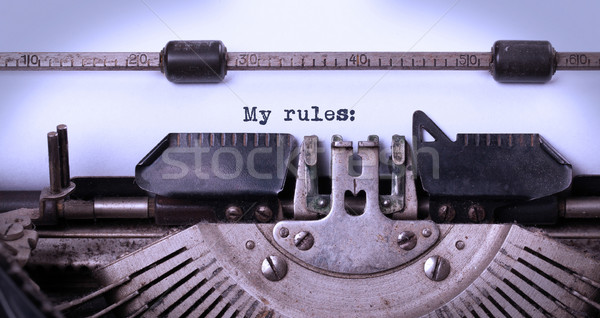 ストックフォト: ヴィンテージ · 碑文 · 古い · タイプライター · ルール