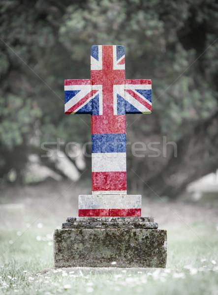 墓石 墓地 ハワイ 古い 風化した 草 ストックフォト © michaklootwijk