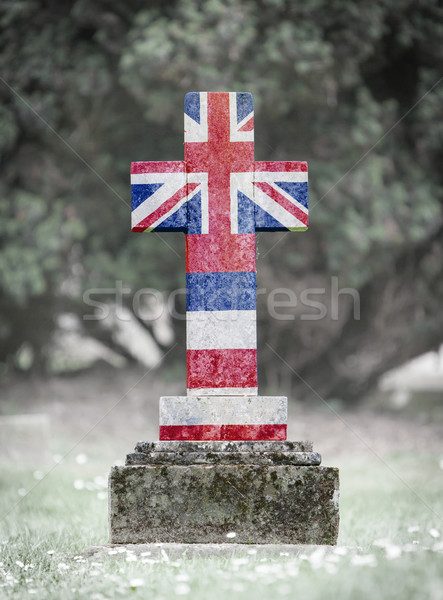 Lápide cemitério Havaí velho resistiu grama Foto stock © michaklootwijk