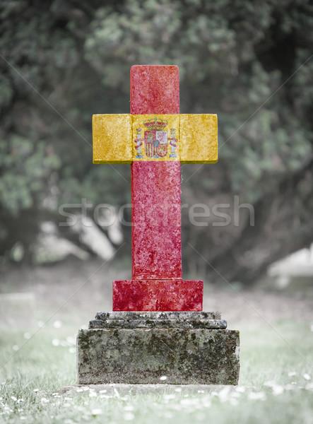 Pierre tombale cimetière Espagne vieux patiné pierre Photo stock © michaklootwijk