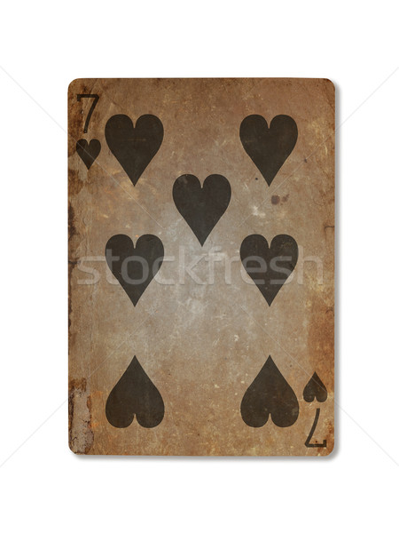 Very old playing card, seven of hearts Stock photo © michaklootwijk