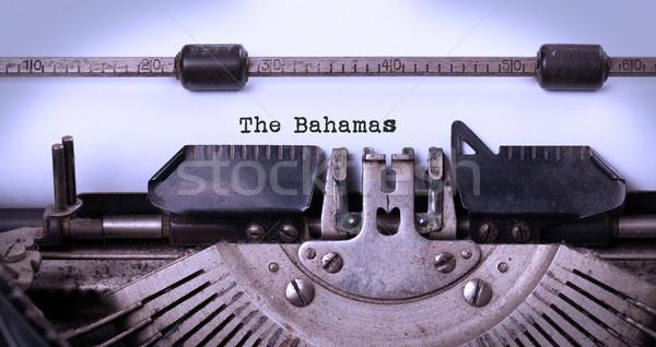 öreg írógép Bahamák felirat klasszikus vidék Stock fotó © michaklootwijk