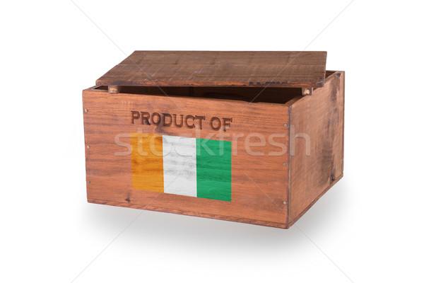 Stock fotó: Fából · készült · láda · izolált · fehér · termék · Elefántcsontpart