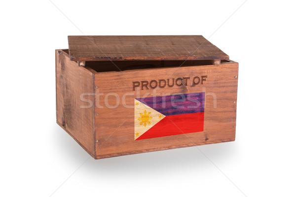 Stock fotó: Fából · készült · láda · izolált · fehér · termék · Fülöp-szigetek
