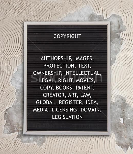 Diritto d'autore plastica lettere vecchio menu bordo Foto d'archivio © michaklootwijk