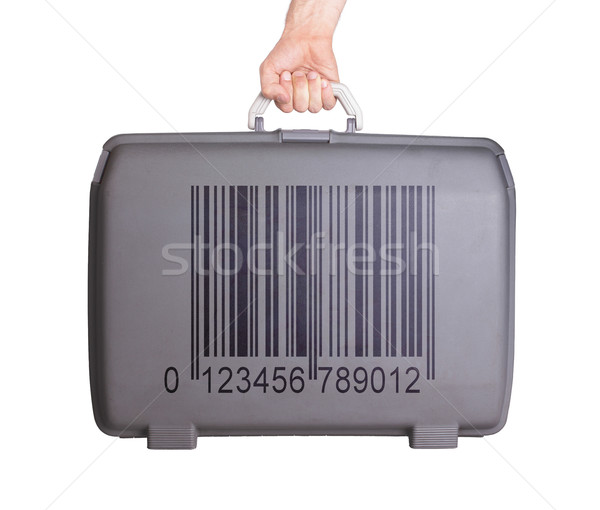 Stock photo: Used plastic suitcase with stains and scratches