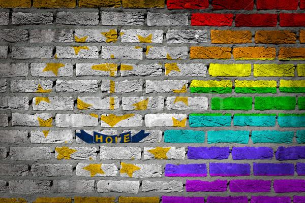 Escuro parede de tijolos direitos Rhode Island textura bandeira Foto stock © michaklootwijk