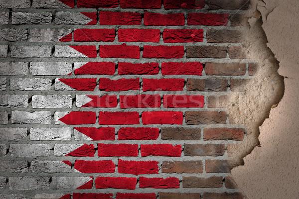 Stok fotoğraf: Karanlık · tuğla · duvar · sıva · Bahreyn · doku · bayrak