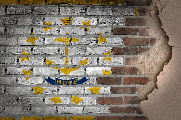 Escuro parede de tijolos gesso Rhode Island textura bandeira Foto stock © michaklootwijk