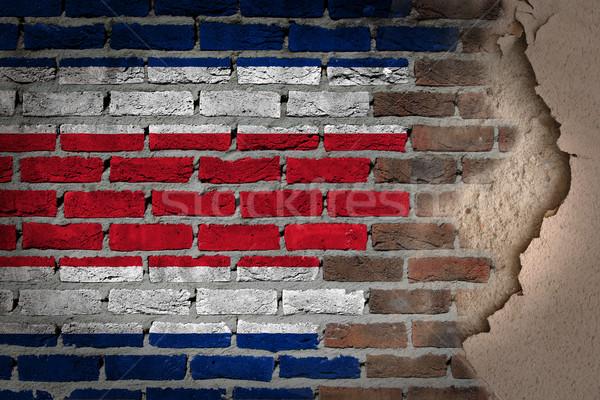 Sötét téglafal tapasz Costa Rica textúra zászló Stock fotó © michaklootwijk