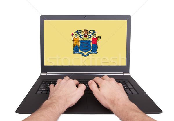 Handen werken laptop New Jersey tonen scherm Stockfoto © michaklootwijk