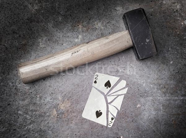 ハンマー 壊れた カード 2 スペード ヴィンテージ ストックフォト © michaklootwijk