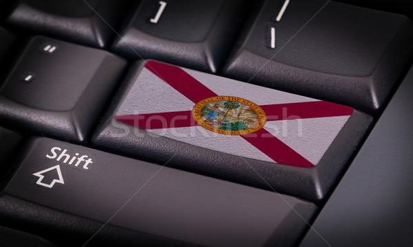 Vlag toetsenbord knop Florida ontwerp laptop Stockfoto © michaklootwijk